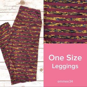 One Size Lularoe Leggings burgundy striped